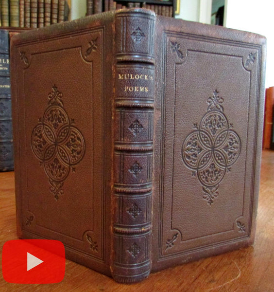 Mulock's Poems 1869 leather gift binding lovely book