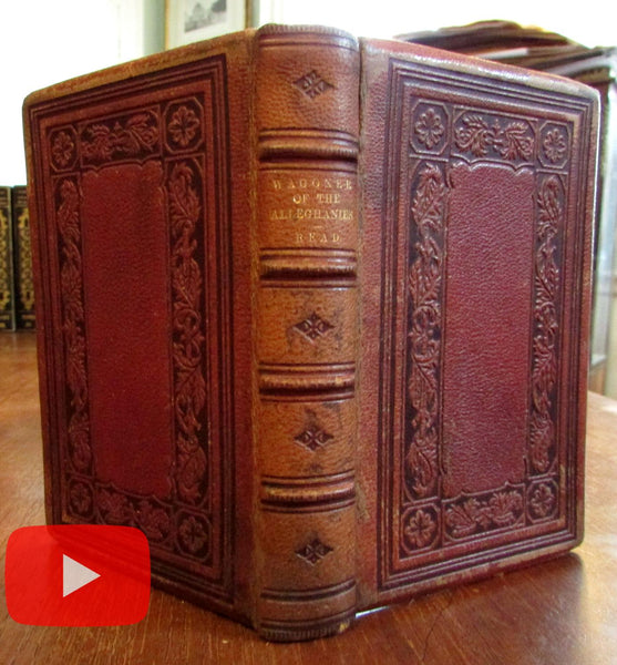 American 1863 Civil War era leather book by T.B. Read 1776 Alleghanies Wagoner
