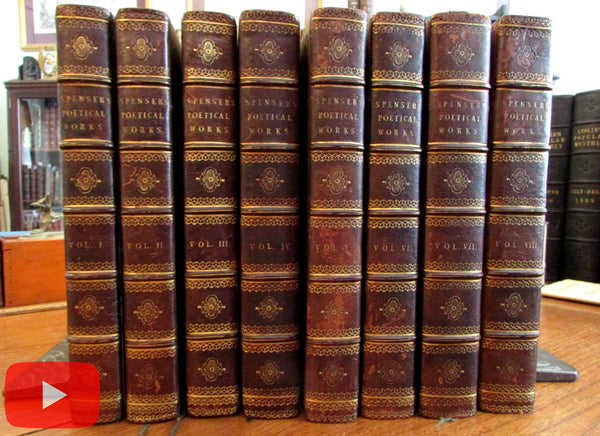 Edmund Spenser's Works 1805 set 8 leather books beautiful gilt morocco A+