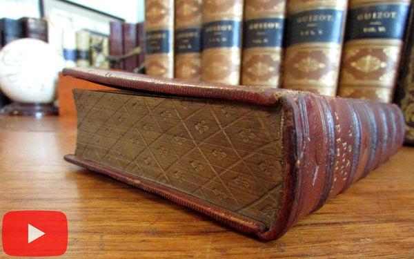 Gauffered edges leather book binding 1855 England Birket Foster illustrated