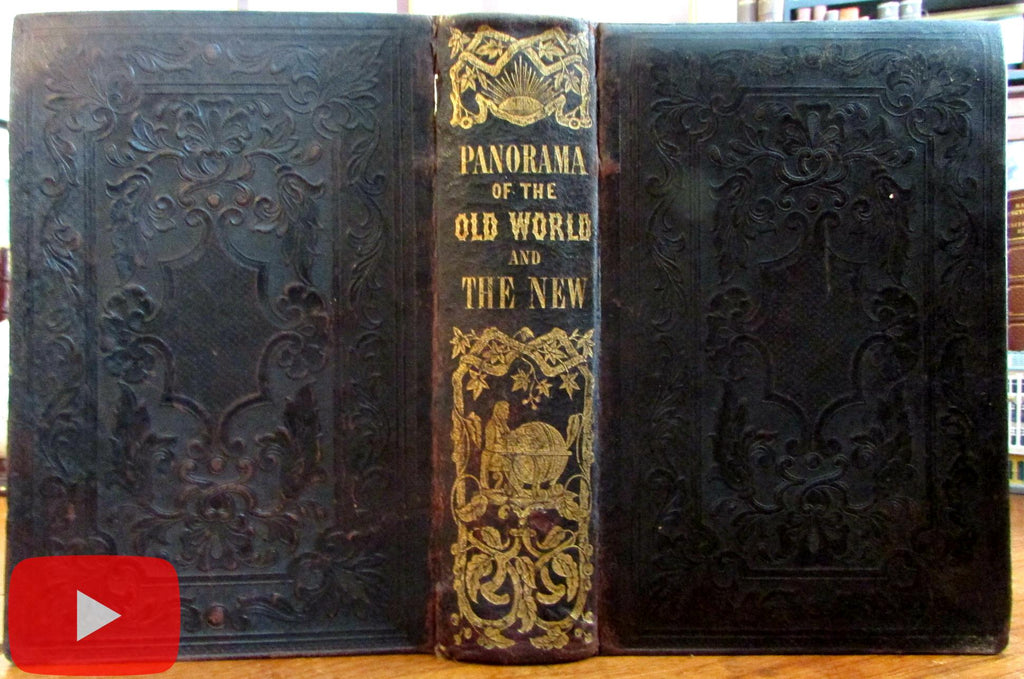 World Cultures illustrated panorama 1854 leather book 200+ woodcut images color
