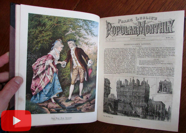 Frank Leslie's Monthly Illustrated magazine 1881 leather book color plates