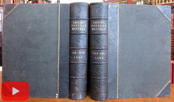Frank Leslie's Illustrated 1890 monthly magazine color plates leather books rare