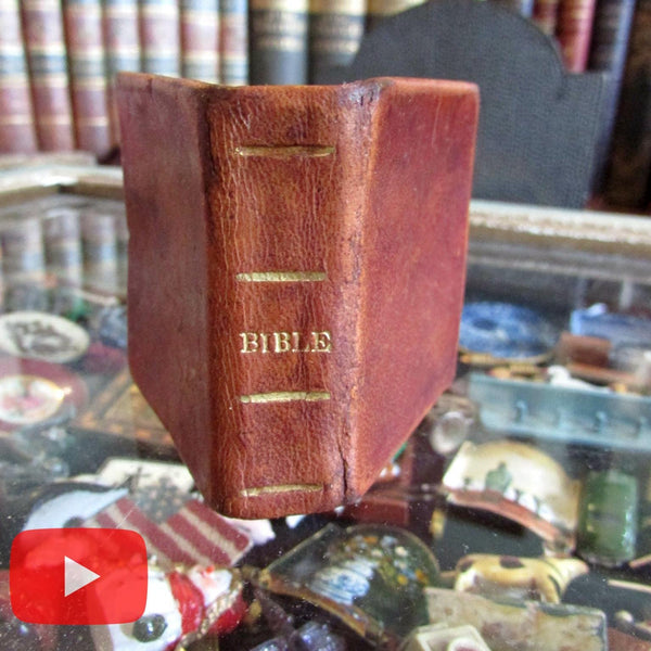Miniature Bible History 1831 leather book New London 24 woodcut illustrations A+