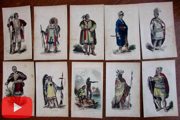 Native American Indian images c.1850's lot of 10 prints old hand color unique