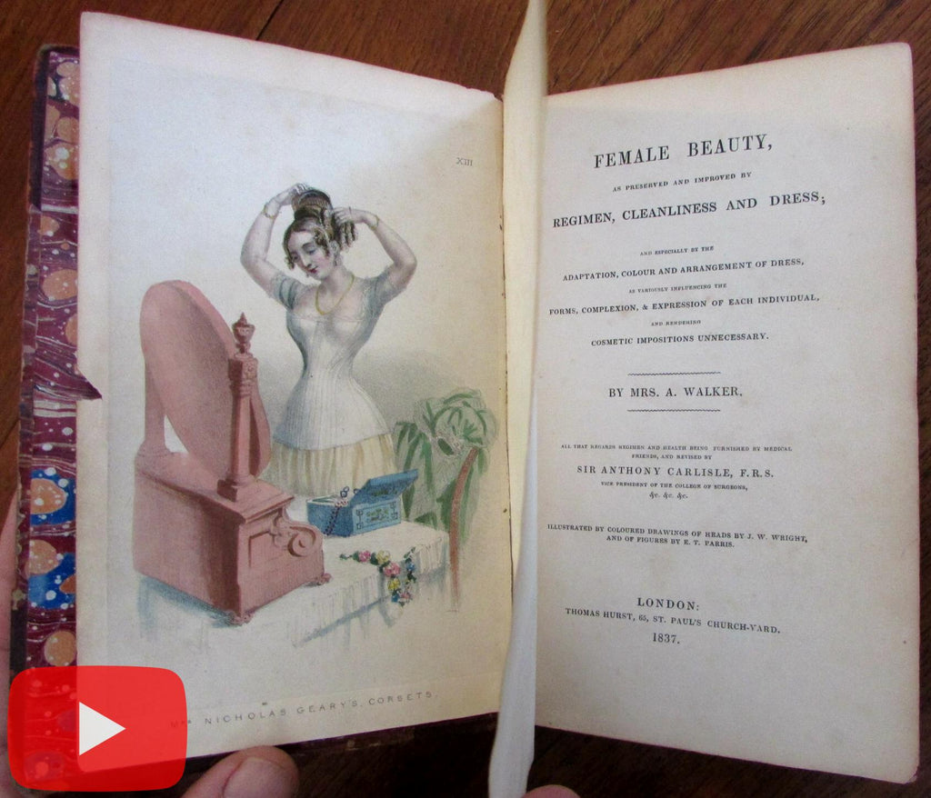 Feminine Beauty 1837 rare book hand color fashion plates transformation