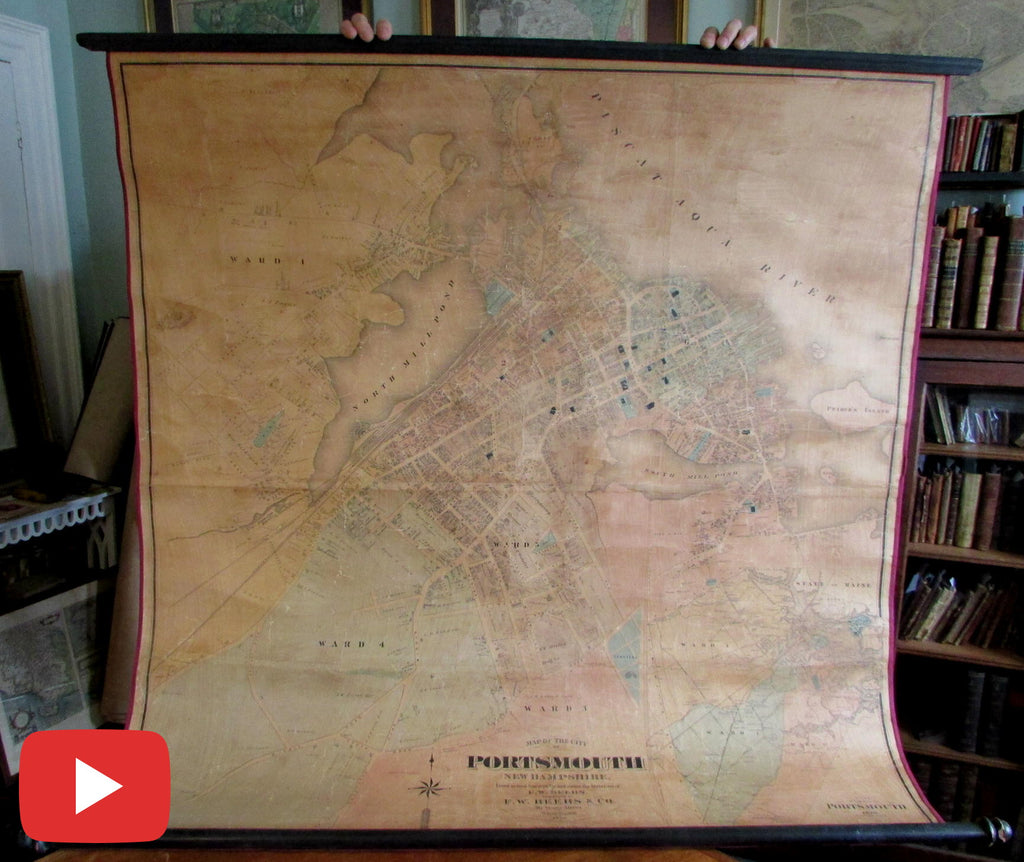 Portsmouth New Hampshire 1876 Beer monumental wall map linen beautiful