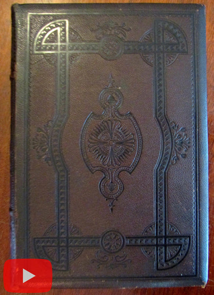 Poetry Poets American 1871 leather book Moral Religion engravings beautiful rare