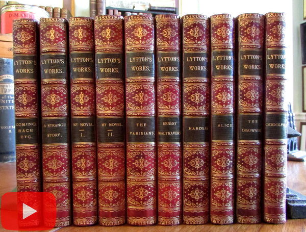 Bulwer Lord Lytton 1880-90's red gilt leather books beautiful 10 vol. set