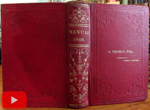 Albany New York State Legislature Manual 1866 red leather folding plans
