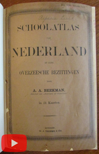Holland Netherlands Nederland Atlas 1889 Beekman 24 maps color litho rare