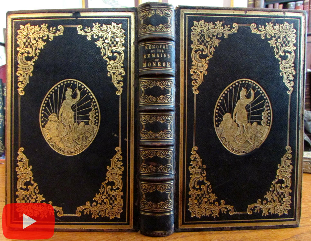 President James Monroe 1858 presentation decorative leather book binding