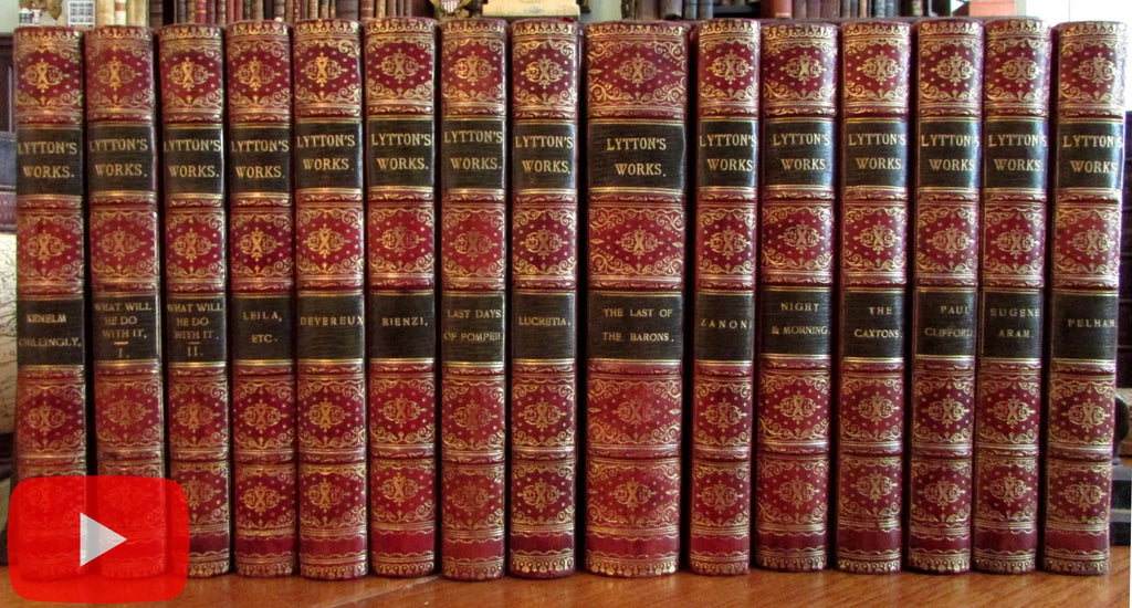 Bulwer Lord Lytton 1880-90's beautiful red gilt leather books set 15 vols