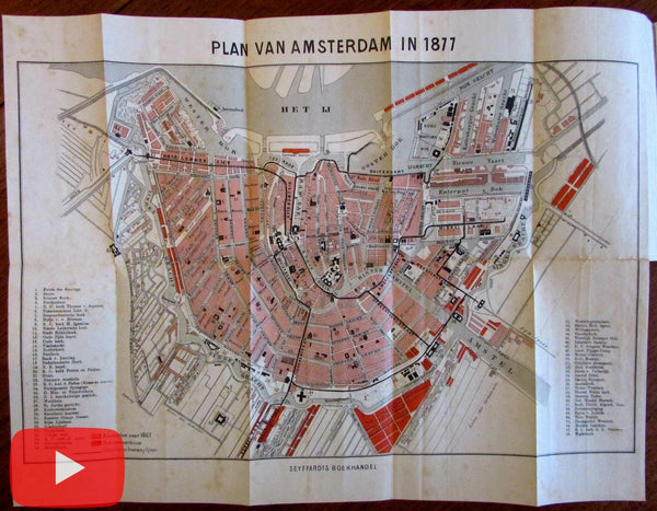 Amsterdam Holland Netherlands 1877 Seyffardt rare city plan map in guidebook