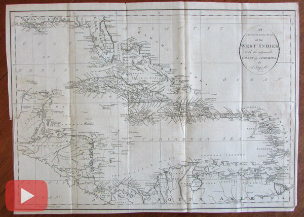 West Indies 1794 Caribbean John Russell old engraved large map Symonds