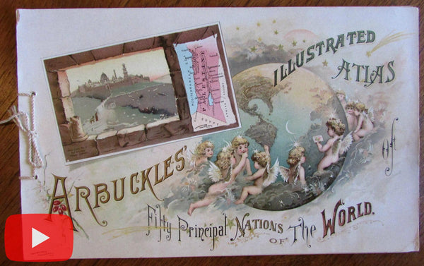 World Atlas 1889 Arbuckles Coffee 50 miniature maps countries chromo album