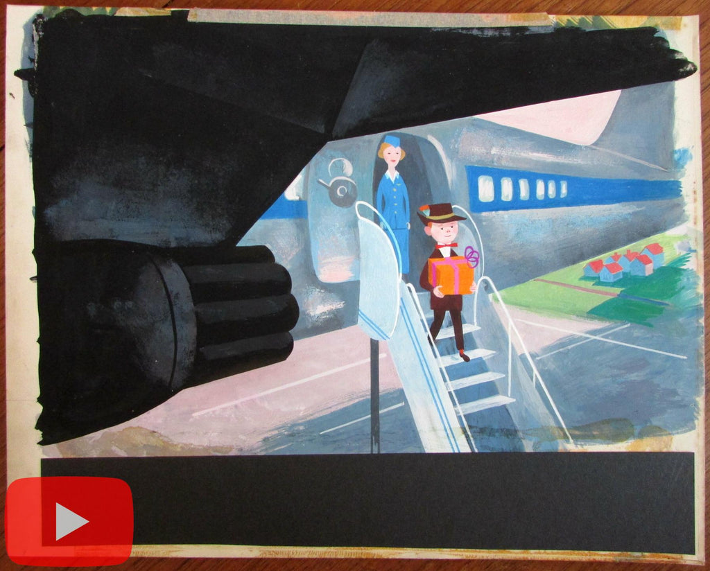 Airlines childhood original art 1960's airplanes stewardess animation style A+