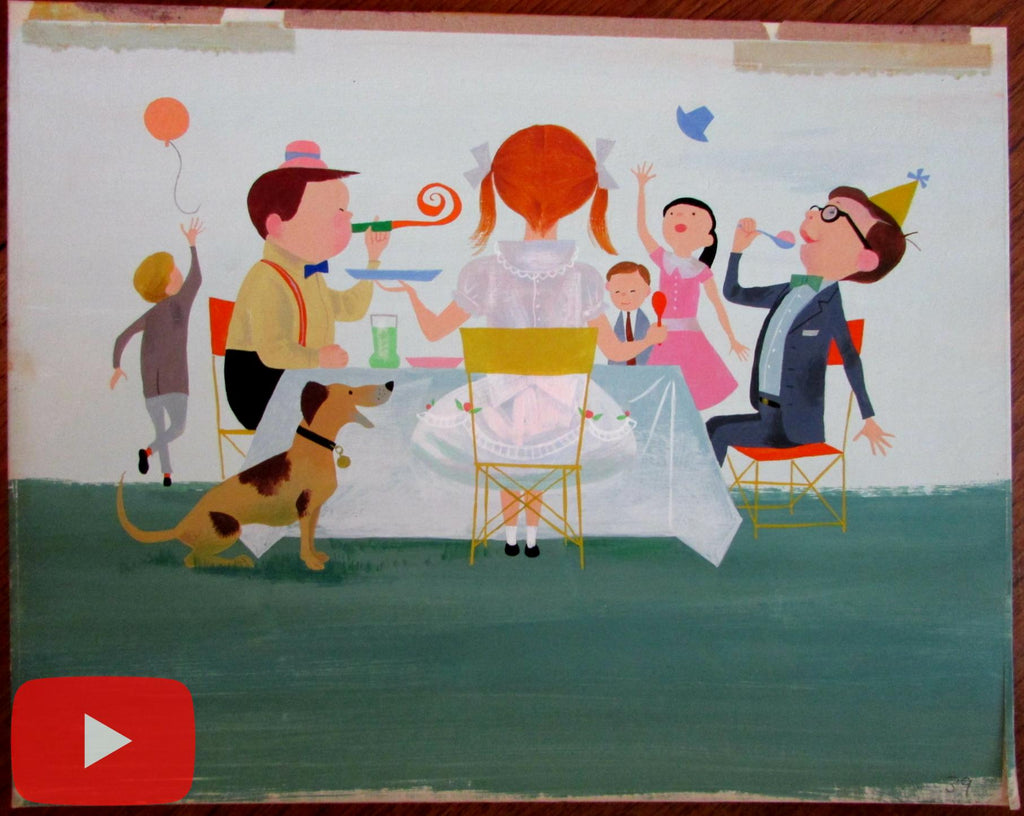 Children's birthday party scene c.1961-3 animation style original art A+ dog balloons