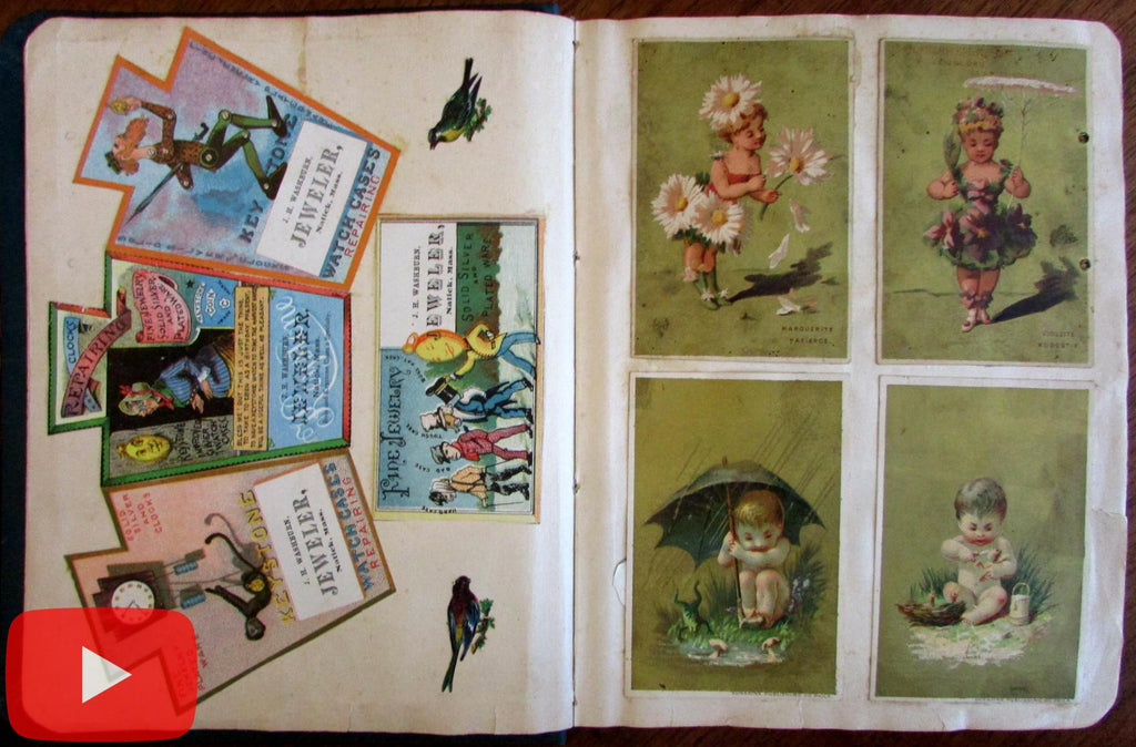 Trade Card Album Scrapbook c.1884-5 with 200+ cards thread sewing medicines etc