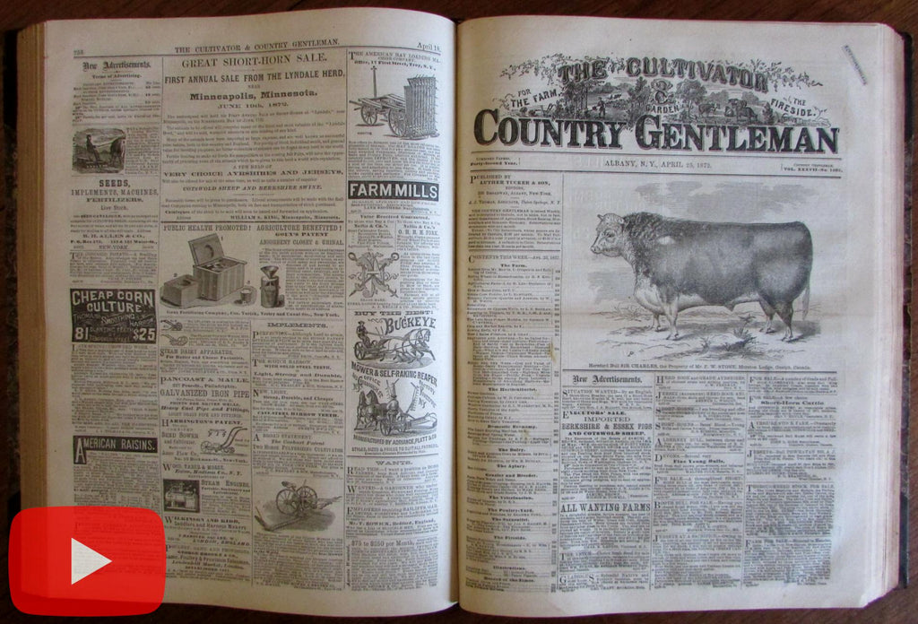 Country Gentleman Farming 1872 complete year illustrated ads bees fruits
