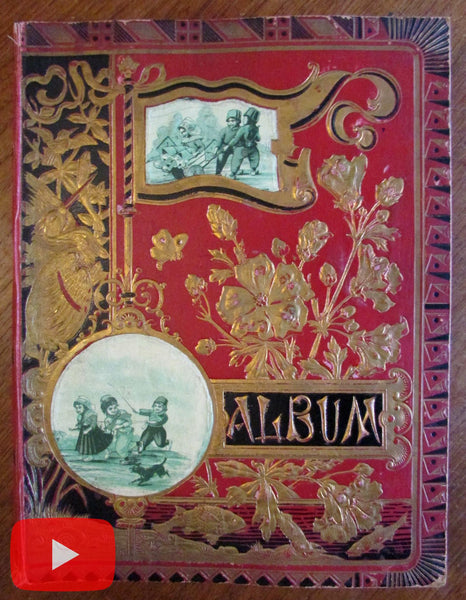 Scrapbook Album c. 175 trade cards c.1881 A. Karsten Natick Mass. color printing