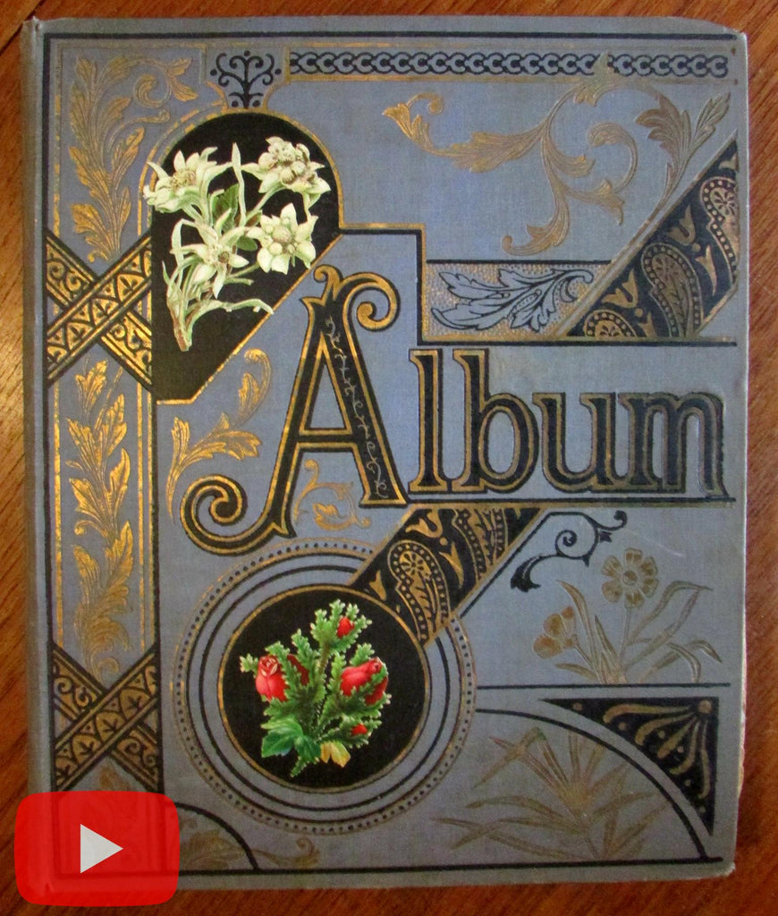 Trade Card Album Scrapbook c.225 colorful advertising chromos Christmas thread