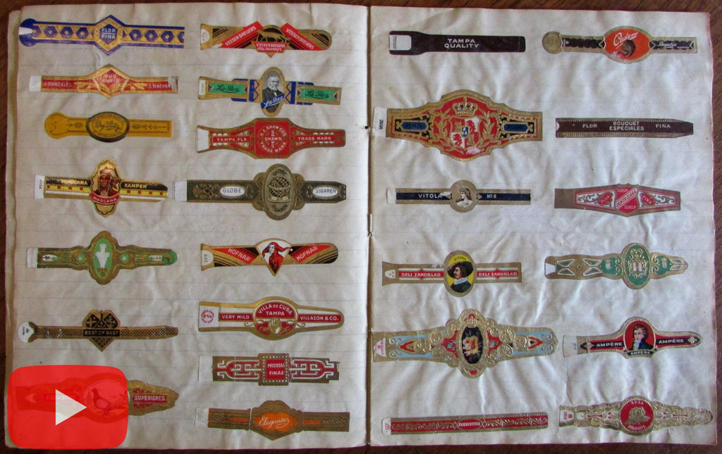 Cigar bands c.1900-30 Collection Dutch Holland x 142 color gold embossed decorative