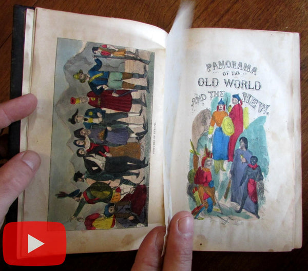 World Panorama 1854 decorative leather book 1000 woodcuts hand-color