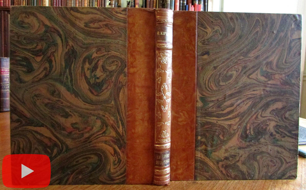 Jungle Book Rudyard Kipling 1933 fine French Illustrated leather book A+