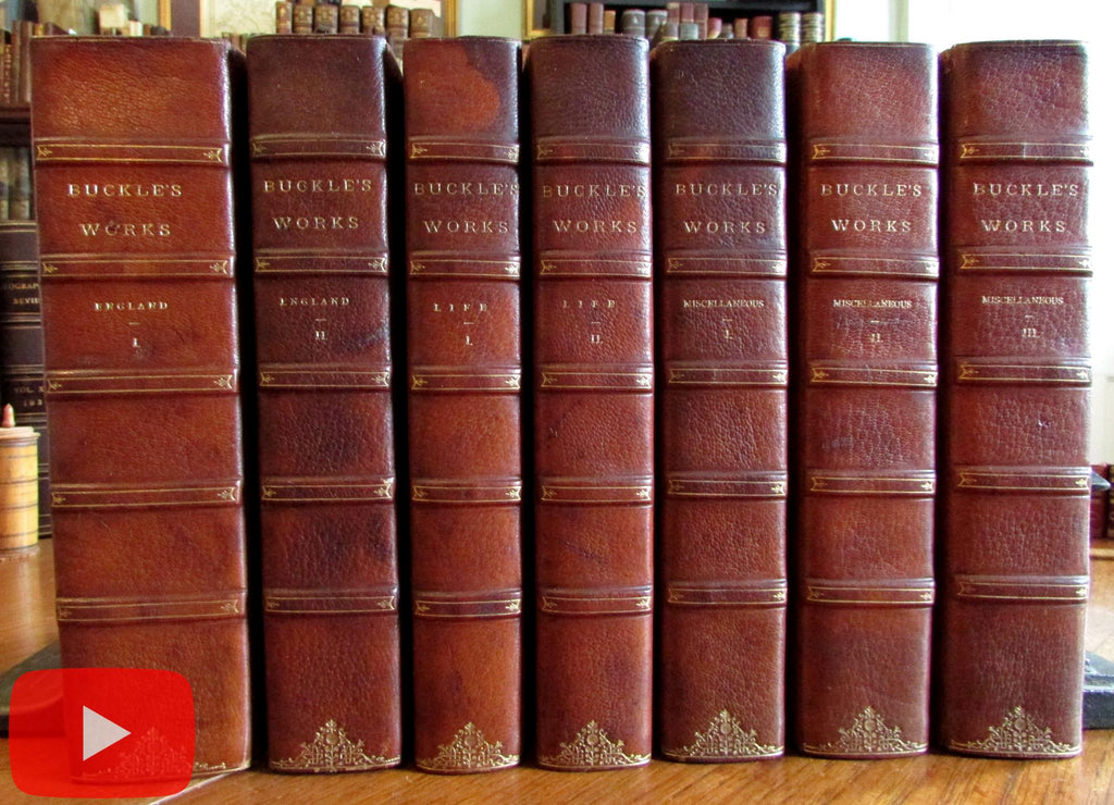 Henry Thomas Buckle 7 vol leather set 1858-80 History Civilization England works