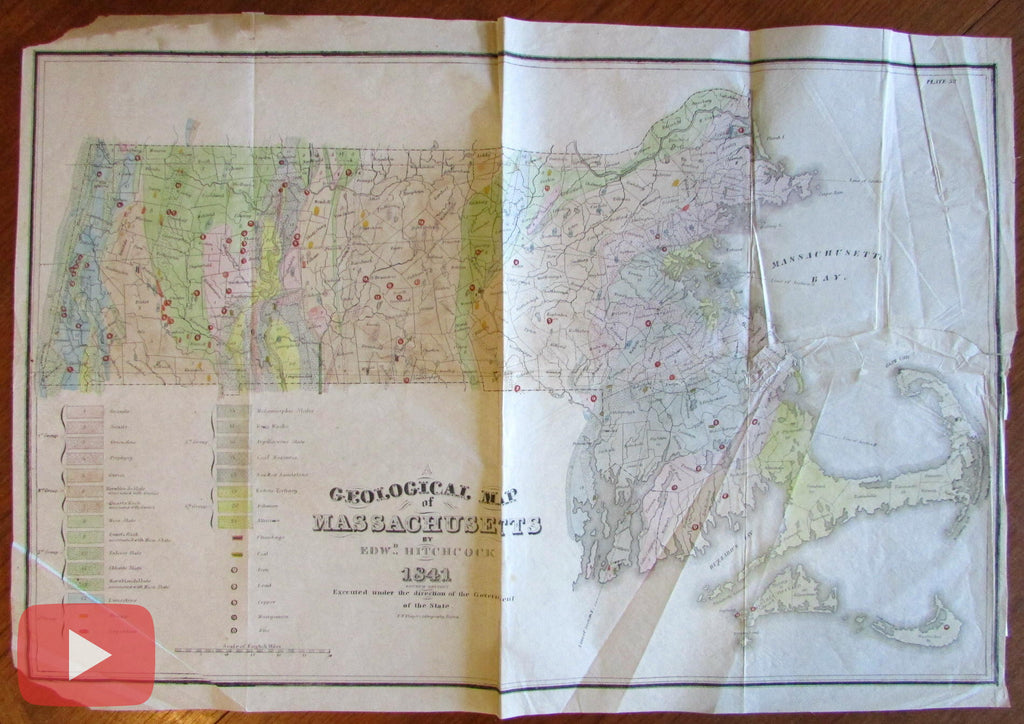 Hitchcock Geology Map Massachusetts 1841 large detailed Thayer Geological