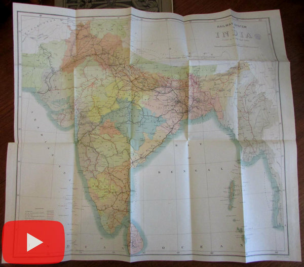 India rare Railway map 1901 huge folding color limited edition S.I.O.