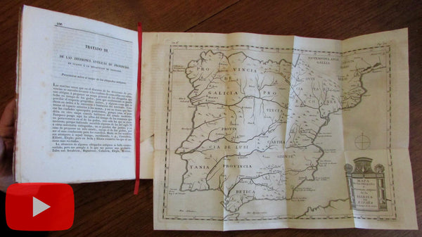 Spain rare Navarro map 1859 Madrid Espana Sagrada book decorative folding