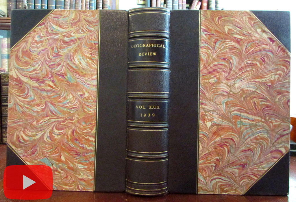 Geographical Review 1939 beautiful leather book 4 issues huge color map photos