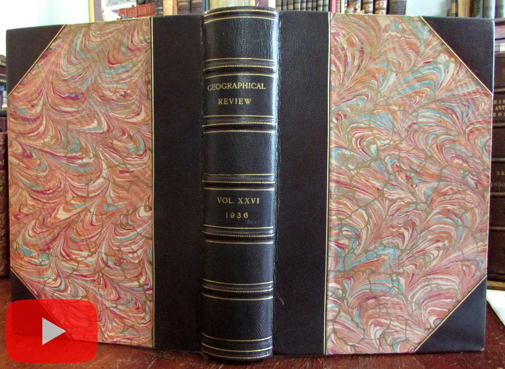 Geographical Society of NY 1936 Journal beautiful leather book maps & photos