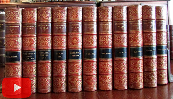 Benjamin Disraeli Earl Beaconsfield 1882 leather books set 11 vols beautiful