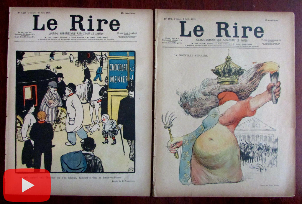 Felix Vallotton 1898 Le Rire 2 issues color cover + b&w images complete ads