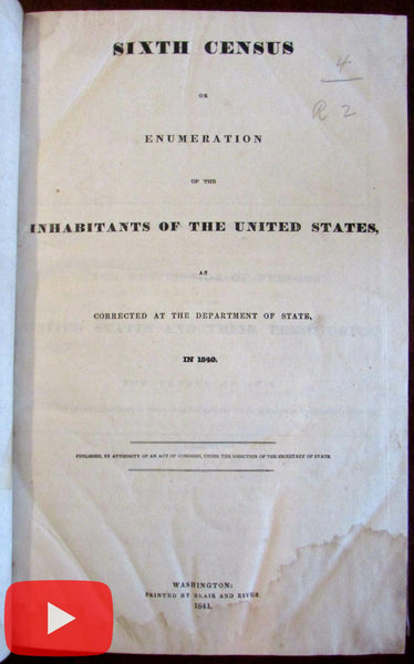 "U.S. 6th Census 1840 ""colored persons"" slaves ""Insane & Idiots"" listed rare book"