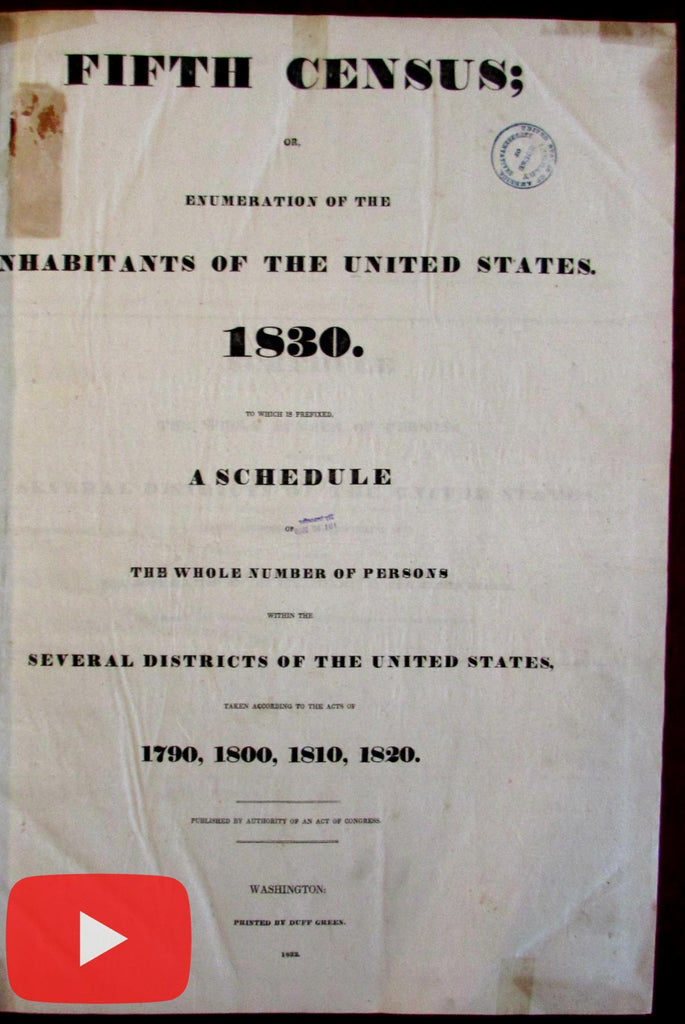 "U.S. 5th Census 1830 Washington D.C. ""colored persons"" Slaves rare huge book"