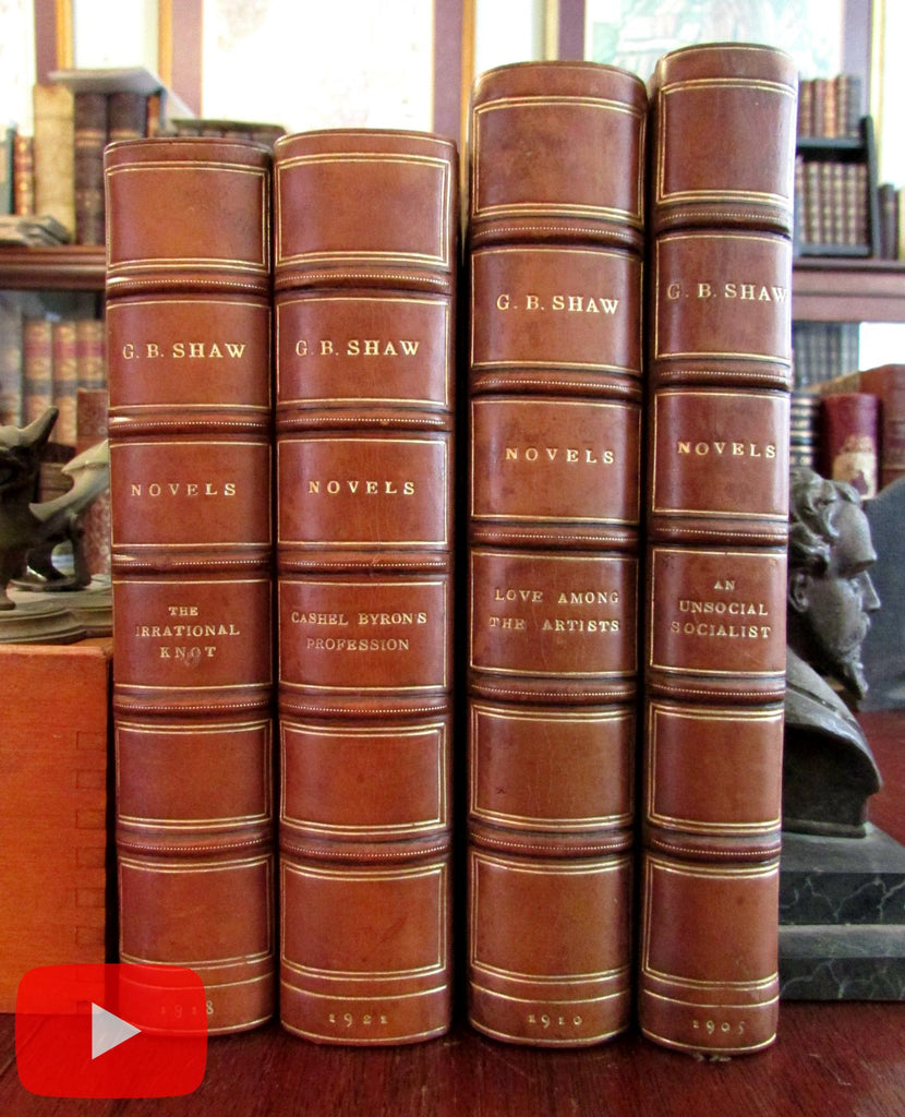 George Bernard Shaw 4 Novels 1920's leather books Irrational Knot Artists Socialist