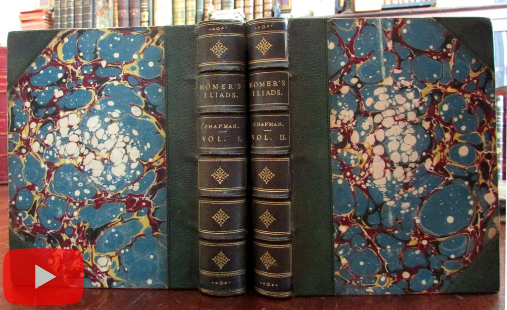Homer Iliad 1865 Chapman Hopper 2 vol. gilt leather set splendid books