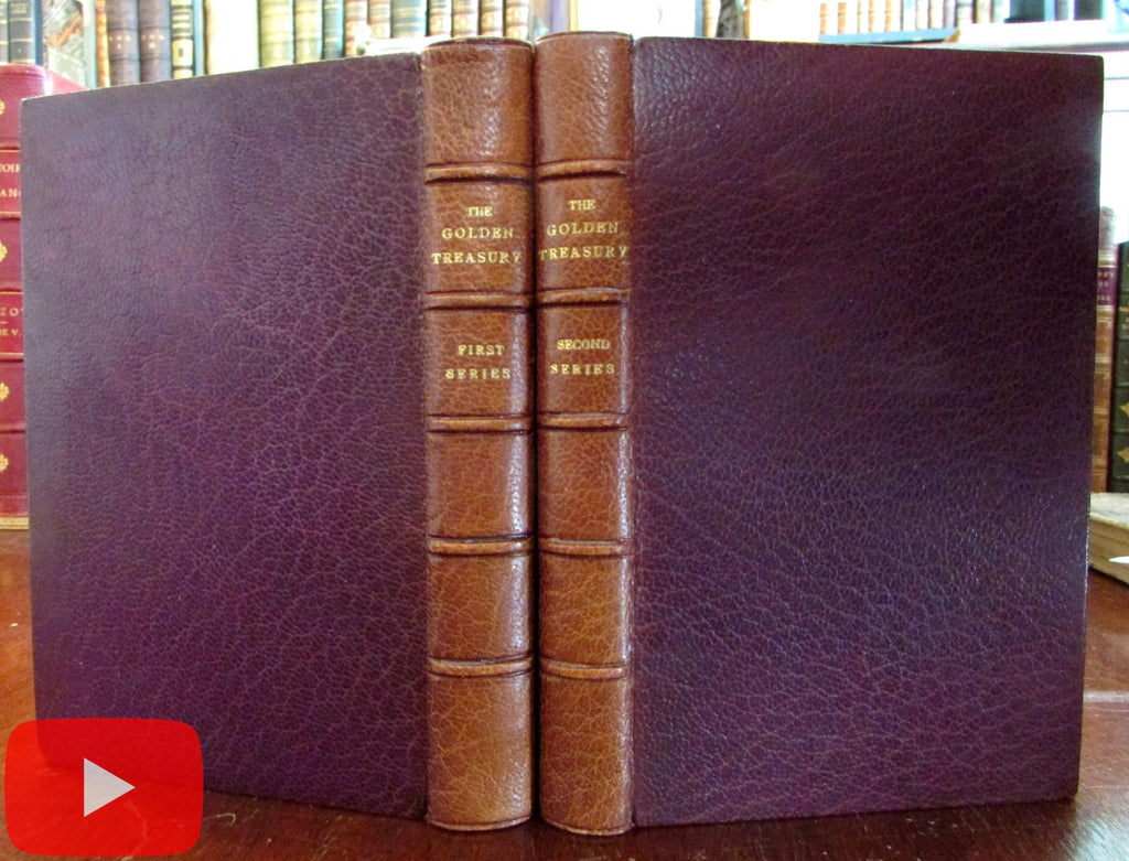 Golden Treasury 1913 Palgrave Morrell morocco leather book bindings 2 v. set A+
