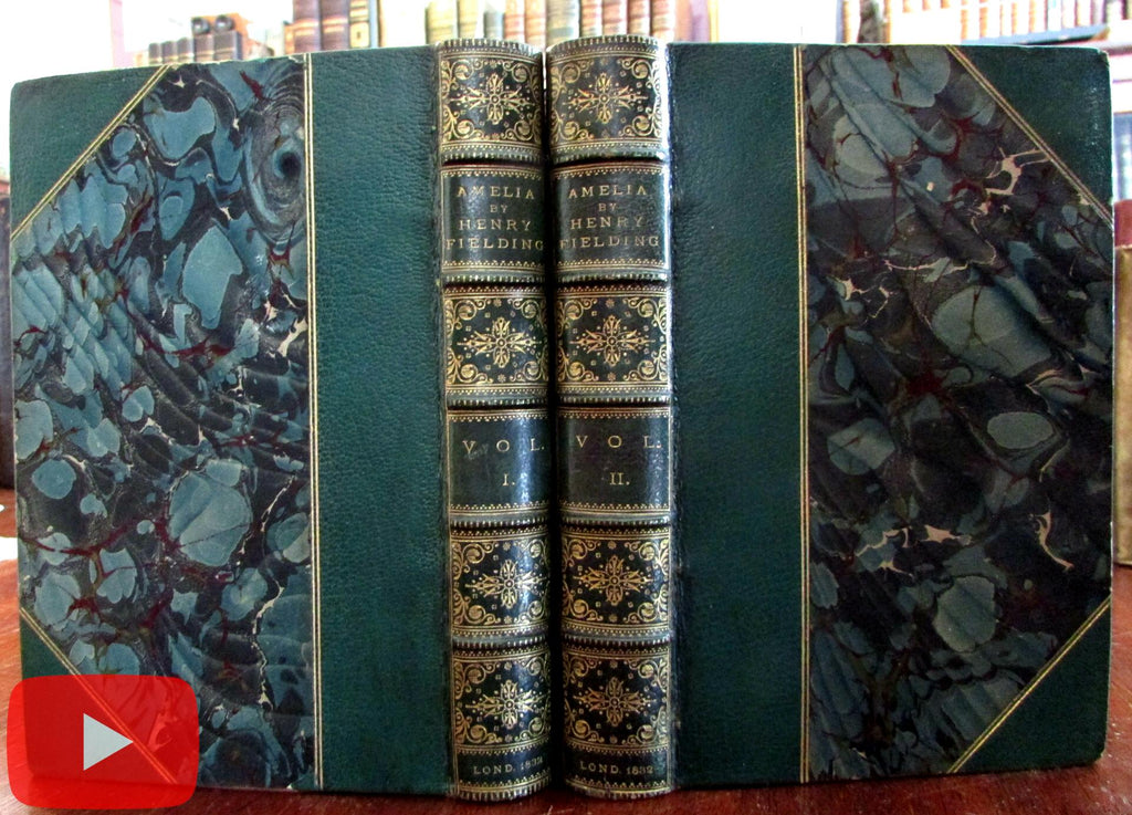 Fielding History of Amelia 1832 Cruikshank illustrated 1st ed. 2 v. Leather set