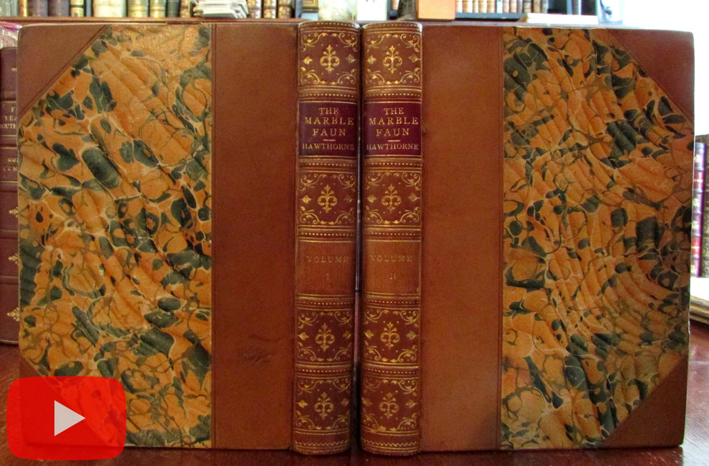 Hawthorne The Marble Faun 1899 fine 2 vol. leather set illustrated Riverside press