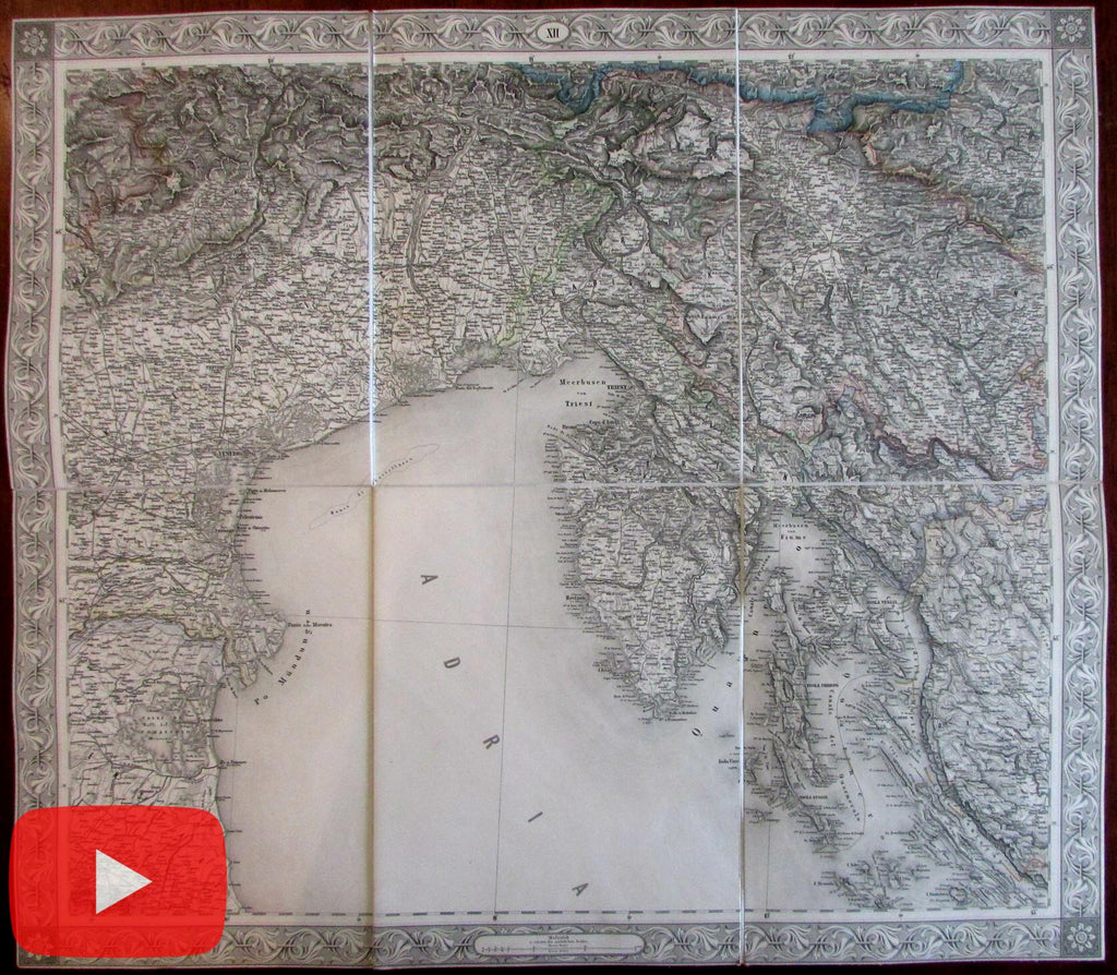 Italy Venice Italia Venezia Trieste Adriatic coast 1858 linen-backed Scheda large map