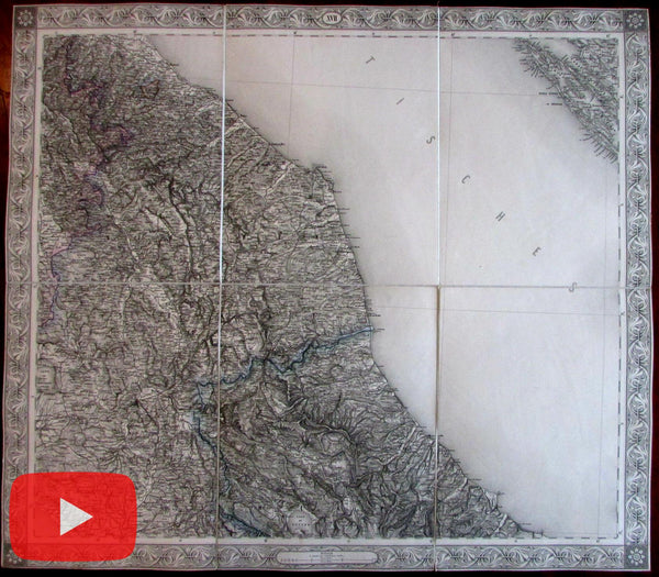 Central Italy 1858 Scheda linen-backed large map Rome to Ancona Adriatic