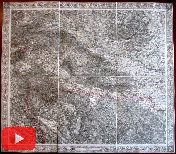 Croatia Zagreb Drava River Agram 1855 Schede linen backed map Europe