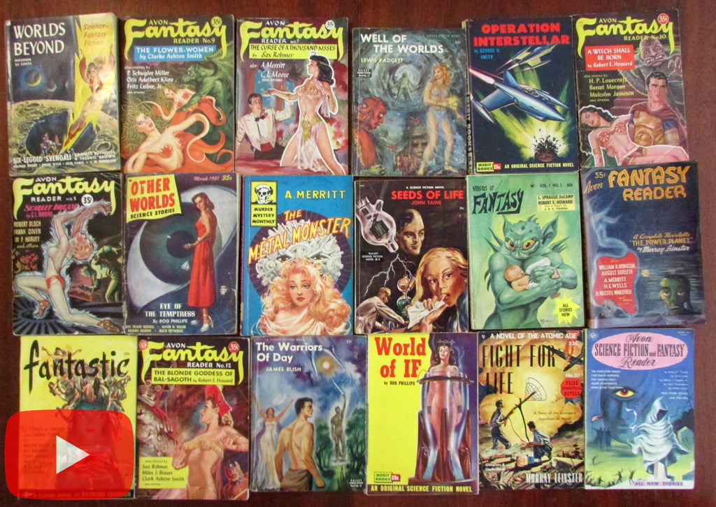 Science Fiction Fantasy cover art c.1947-57 Lot x 18 great authors monsters damsels