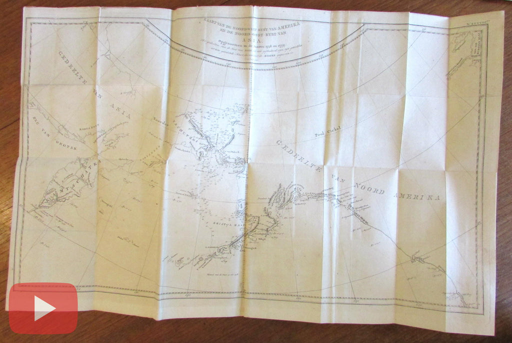 Alaska coast 1798 Capt. Cook 3rd voyage chart old map Dutch van Baarsel