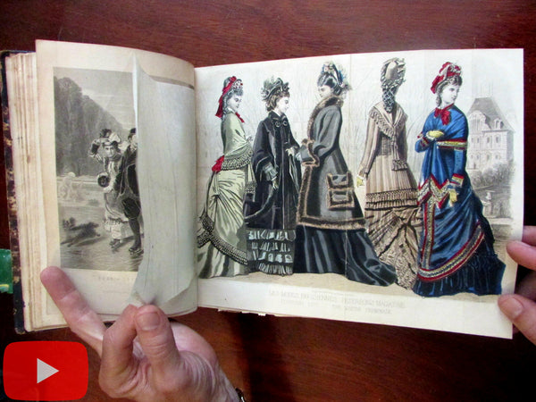 Peterson's Lady's Magazine 1877 Fashion Illustration 12 issues bound color plates